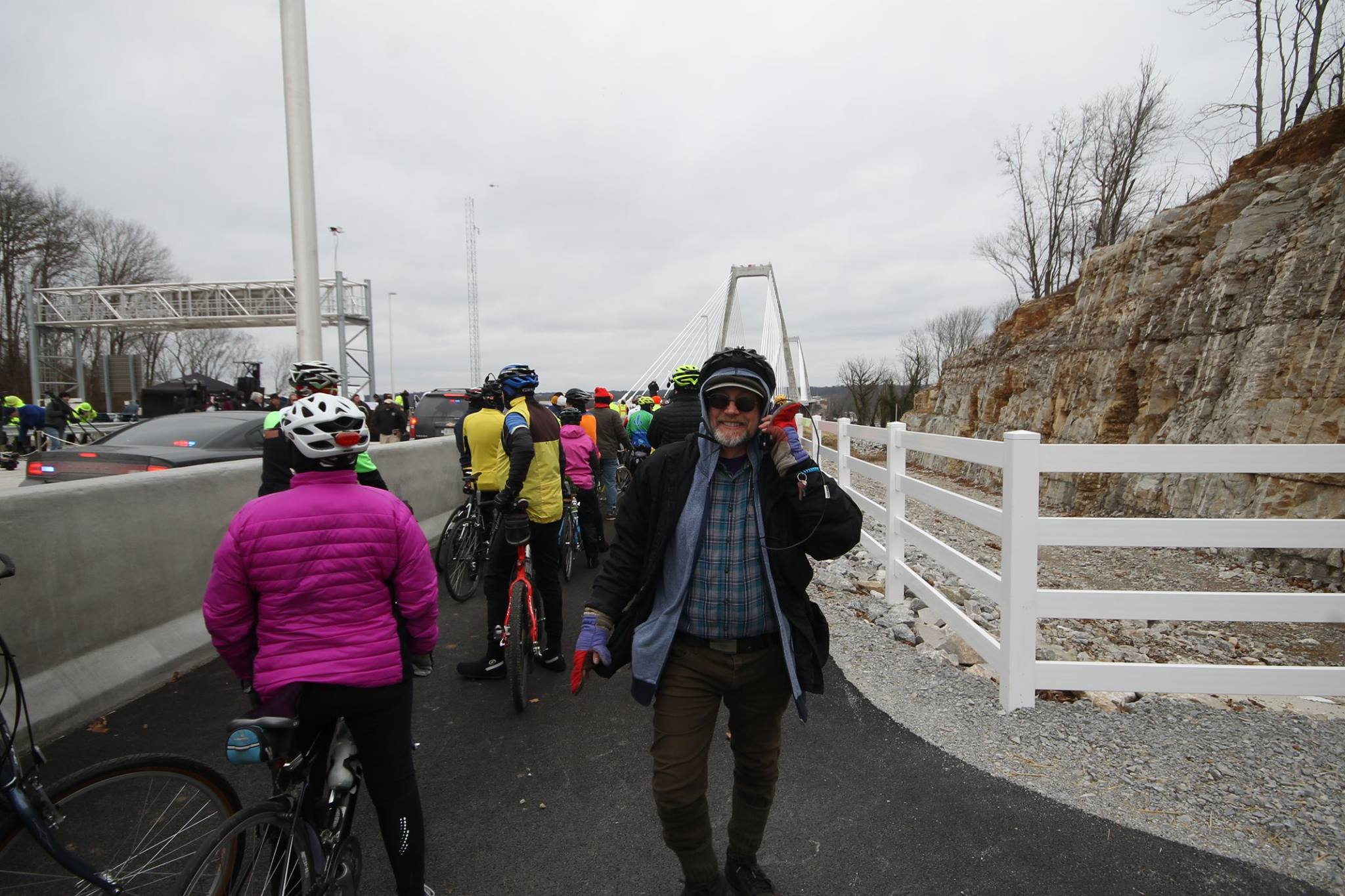 Andy Dyson and friends ride at the opening of the Lewis and Clark Bridge